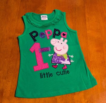 Peppa Pig - Green Singlet Sleeve Top